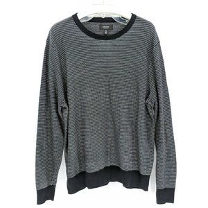 NORDSTROM SHOP Black Grey Stripe Crew Neck Sweater